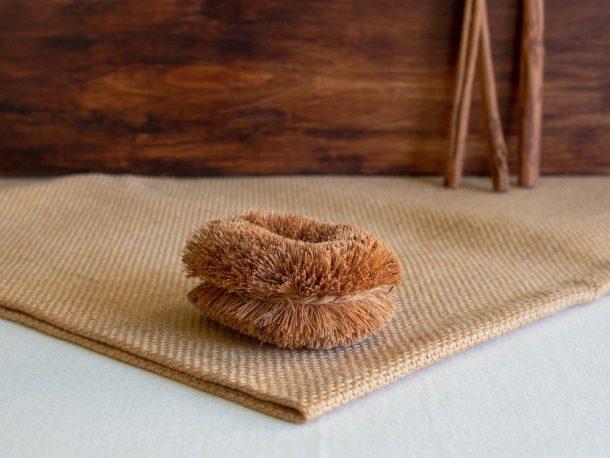 Escova de Fibra de Coco para Legumes, Frutas e Limpeza