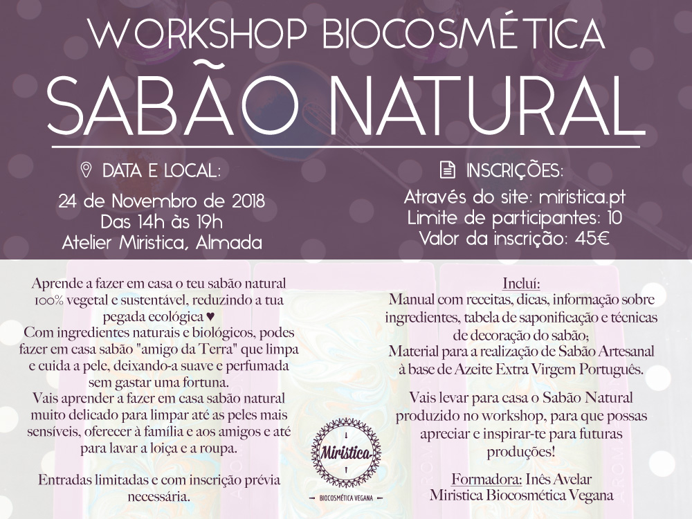 Workshop de Biocosmética Sabão Natural Vegan